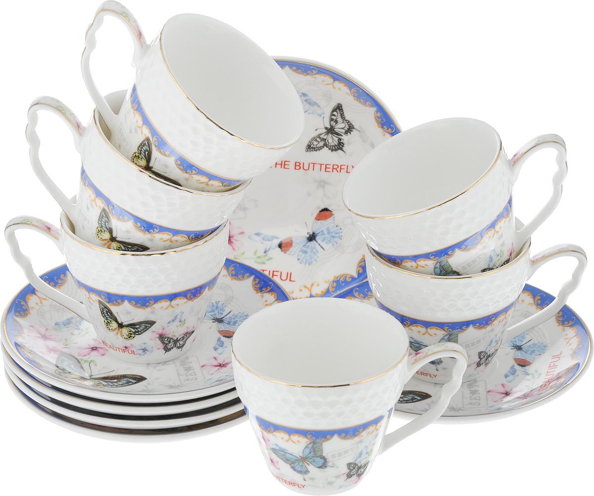 Набор кофейный Loraine Бабочки, 12 предметов. 2579025790Кофейный набор Loraine Бабочки состоит из 6 чашек и 6 блюдец. Изделия выполнены из высококачественного костяного фарфора, оформлены золотистой каймой и цветочным рисунком. Такой набор станет прекрасным украшением стола и порадует гостей изысканным дизайном и утонченностью. Набор упакован в подарочную коробку, задрапированную внутри белой атласной тканью. Каждый предмет надежно зафиксирован внутри коробки. Кофейный набор Loraine Бабочки идеально впишется в любой интерьер, а также станет идеальным подарком для ваших родных и близких. Объем чашки: 90 мл. Диаметр чашки (по верхнему краю): 6,2 см. Высота чашки: 5,5 см. Диаметр блюдца (по верхнему краю): 11,2 см. Высота блюдца: 1,5 см.