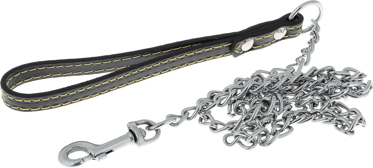 Поводок-цепь для собак Dezzie, цвет: черный, серебристый, толщина 2,5 мм, длина 120 см5601016_черный, серебристыйПоводок-цепь для собак Dezzie - это удобная и качественная амуниция из хромированной стали и натуральной кожи. Поводок прост в использовании. Он поможет удерживать энергичного питомца во время прогулки, не навредив при этом его здоровью. Изделие пристегивается к ошейнику с помощью встроенного карабина. Такой поводок смотрится элегантно, идеально подходит для дрессировки и создан так, чтобы не причинить питомцам дискомфорта. Длина поводка: 120 см. Толщина цепи: 2,5 мм.