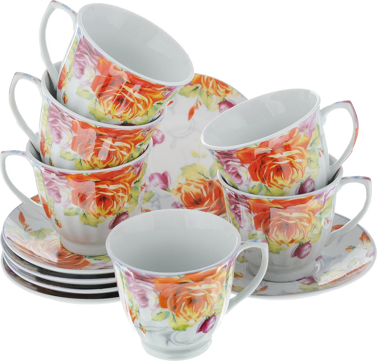 Набор чайный Loraine Розы, 12 предметов. 2253222532Чайный набор Loraine Розы состоит из шести чашек и шести блюдец. Изделия выполнены из высококачественного фарфора и оформлены цветочным рисунком. Такой набор изящно дополнит сервировку стола к чаепитию. Благодаря оригинальному дизайну и качеству исполнения, он станет замечательным подарком для ваших друзей и близких. Набор упакован в красивую подарочную коробку. Объем чашки: 220 мл. Диаметр чашки (по верхнему краю): 8,7 см. Высота чашки: 7,5 см. Диаметр блюдца: 13,5 см. Высота блюдца: 2 см.