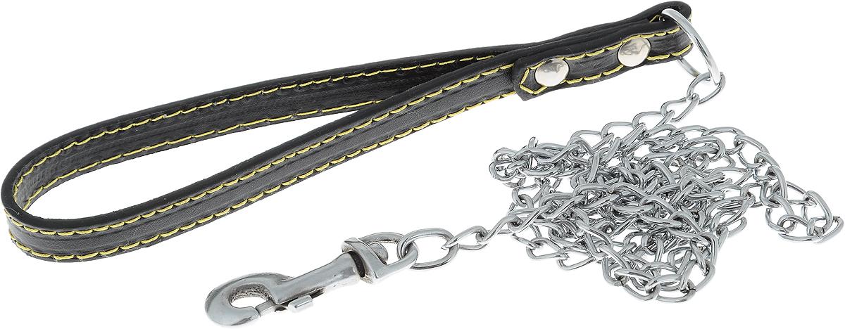 Поводок-цепь для собак Dezzie, цвет: черный, серебристый, толщина 1,6 мм, длина 120 см5601014_черный, серебристыйПоводок-цепь для собак Dezzie - это удобная и качественная амуниция из хромированной стали и натуральной кожи. Поводок прост в использовании. Он поможет удерживать энергичного питомца во время прогулки, не навредив при этом его здоровью. Изделие пристегивается к ошейнику с помощью встроенного карабина. Такой поводок смотрится элегантно, идеально подходит для дрессировки и создан так, чтобы не причинить питомцам дискомфорта. Длина поводка: 120 см. Толщина цепи: 1,6 мм.