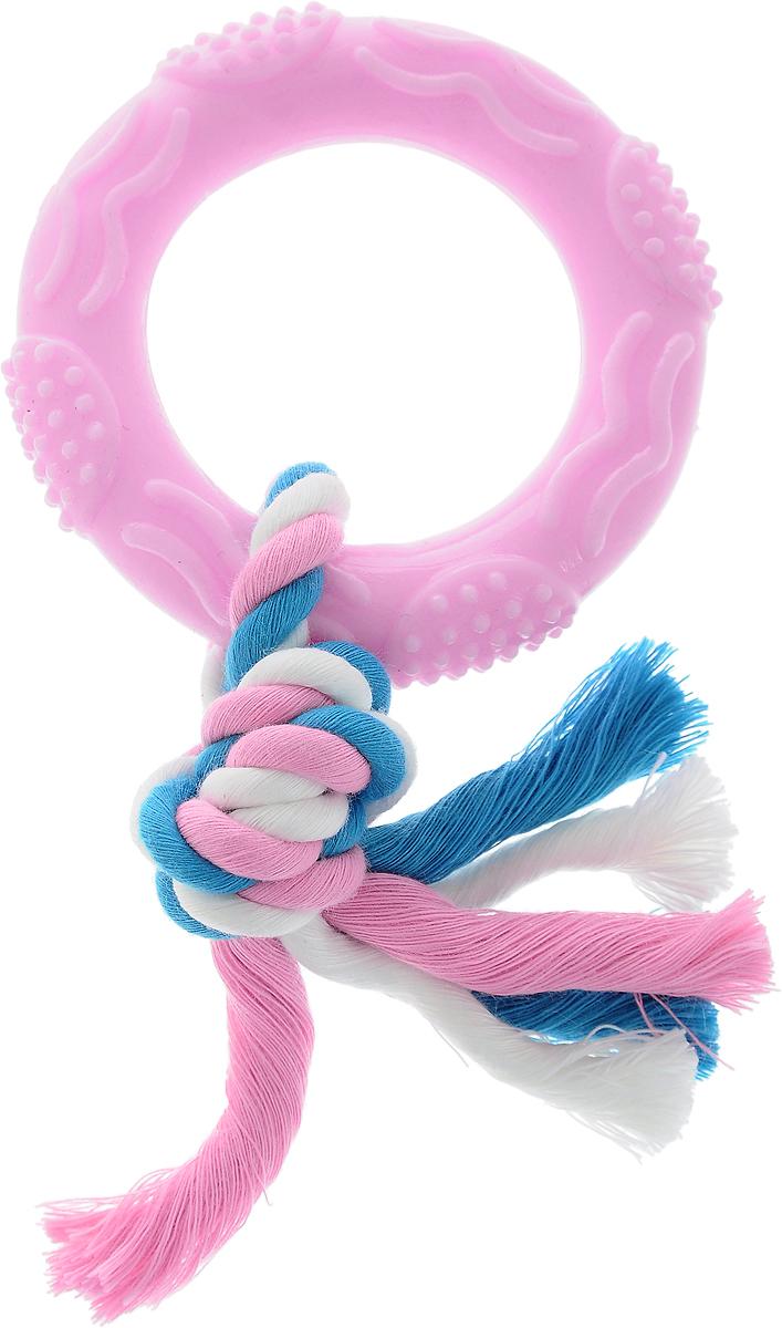 """Игрушка для собак Dezzie """"Кольцо с веревкой"""", длина 15 см 5638204"""