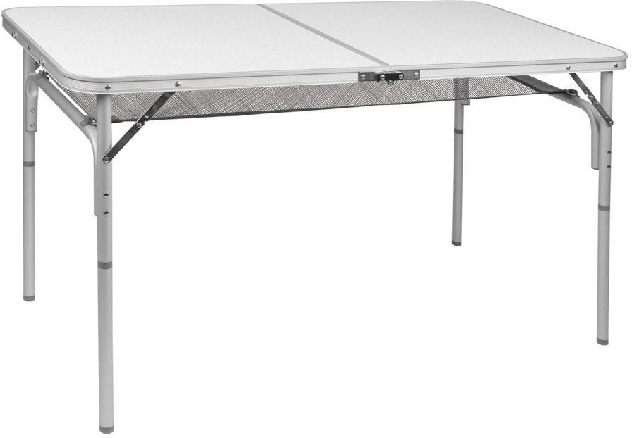 Стол складной Trek Planet Forest 120, кемпинговый, 120x60x36/60 см70777Легкий стол FOREST 120 с ножками складывающимися в столешницу, незаменимая вещь для большой семьи в путешествии. Если поверхность не очень ровная, высоту ножек стола можно слегка отрегулировать с помощью пластиковых шайб в основании каждой ножки. Сетка под столешницей, очень удобное дополнение, позволяет хранить необходимые вещи под рукой. Ножки крепятся на внутренней поверхности стола с помощью пластиковых фиксаторов. Столешница складывается пополам в плоский чемоданчик с ручкой для переноски. - Столешница из огнеупорного пластика - Каждую ножку можно слегка отрегулировать на неровной поверхности за счет пластиковых шайб - Откручивающиеся ножки - Пластиковый крепеж для ножек на внутренней стороне столешницы - Ручка для переноски - Плоско складывается в чемоданчик Характеристики: Материал: Столешница: огнеупорный пластик Рама: 25 мм алюминий Размер в разложенном виде: 120x60x36/60 см Минимальная высота стола: 50см ...