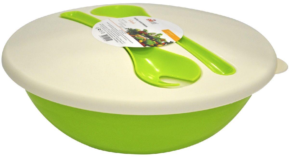Салатник Giaretti Dolche, с крышкой и приборами, цвет: оливковый, 3 лGR1878ОЛНаслаждайтесь Вашим свежим салатом, ведь в нашем новом салатнике готовить его одно удовольствие. Преимущества: стильный дизайн салатника украсит любой стол и дома, и на природе; с помощью приборов, входящих в комплектацию, Вы легко размешаете Ваш салат; оптимальный объем 3 л подойдет как для большой компании, так и для семейного обеда; плотная крышка сохранит свежесть Ваших блюд. Приборы плотно крепятся на крышку, Вы не потеряете их во время хранения и переноски.