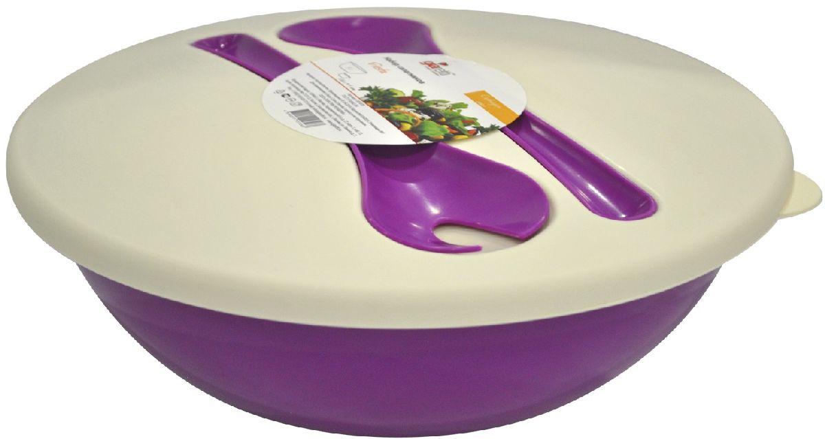 Салатник Giaretti Dolche, с крышкой и приборами, цвет: черничный, 3 лGR1878ЧРННаслаждайтесь Вашим свежим салатом, ведь в нашем новом салатнике готовить его одно удовольствие. Преимущества: стильный дизайн салатника украсит любой стол и дома, и на природе; с помощью приборов, входящих в комплектацию, Вы легко размешаете Ваш салат; оптимальный объем 3 л подойдет как для большой компании, так и для семейного обеда; плотная крышка сохранит свежесть Ваших блюд. Приборы плотно крепятся на крышку, Вы не потеряете их во время хранения и переноски.
