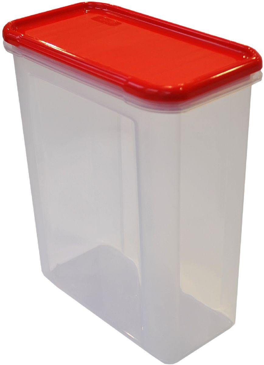 Банка для сыпучих продуктов Giaretti Krupa, цвет: красный, прозрачный, 1,5 лGR2233ЧЕРИБанки для сыпучих продуктов предназначены для хранения круп, сахара, макаронных изделий, сладостей и т.п., в том числе для продуктов с ярким ароматом (специи и пр.). Строгая прямоугольная форма банок поможет Вам организовать пространство максимально комфортно, не теряя полезную площадь. При этом банки устанавливаются одна на другую, что способствует экономии пространства в Вашем шкафу. Плотная крышка не пропускает запахи, и они не смешиваются в Вашем шкафу. Благодаря разнообразным отверстиям в дозаторе, Вам будет удобно насыпать как мелкие, так и крупные сыпучие продукты, что сделает процесс приготовления пищи проще.