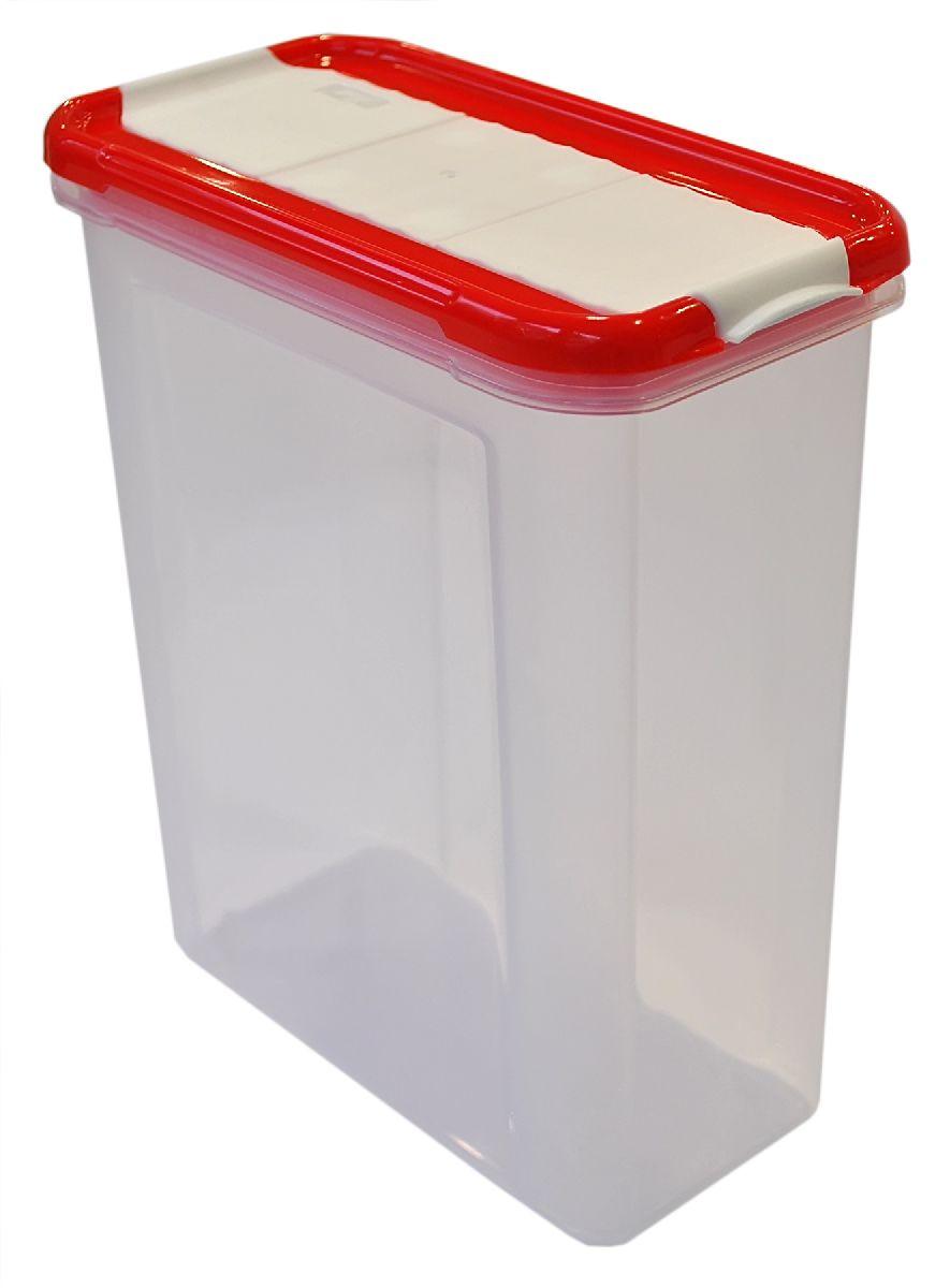 Банка для сыпучих продуктов Giaretti Krupa, с дозатором, цвет: красный, прозрачный, 1,5 лGR2237ЧЕРИБанки для сыпучих продуктов предназначены для хранения круп, сахара, макаронных изделий, сладостей и т.п., в том числе для продуктов с ярким ароматом (специи и пр.). Строгая прямоугольная форма банок поможет Вам организовать пространство максимально комфортно, не теряя полезную площадь. При этом банки устанавливаются одна на другую, что способствует экономии пространства в Вашем шкафу. Плотная крышка не пропускает запахи, и они не смешиваются в Вашем шкафу. Благодаря разнообразным отверстиям в дозаторе, Вам будет удобно насыпать как мелкие, так и крупные сыпучие продукты, что сделает процесс приготовления пищи проще.