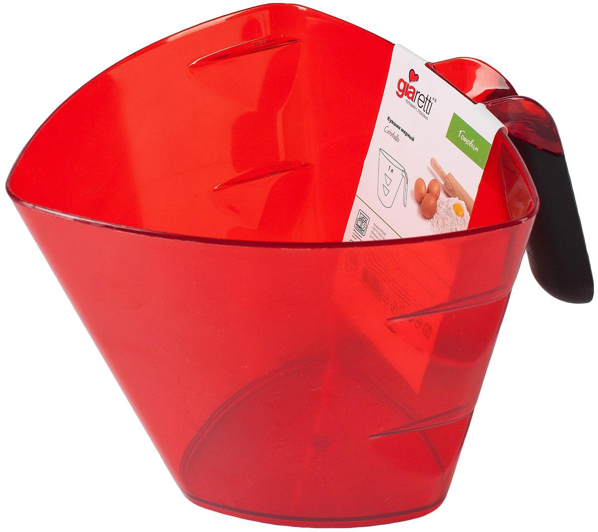 Кувшин мерный Giaretti Cristallo, цвет: красный, 0,5 лGR3065Мерный кувшин - необходимая вещь на кухне. Наши кувшины не только практичны и удобны в использовании, но и вдохновляют на кулинарные победы своим ярким цветом и привлекательным дизайном. Преимущества: эргономичная ручка с противоскользящей вставкой, мерная шкала внутри кувшина, 3 литража.