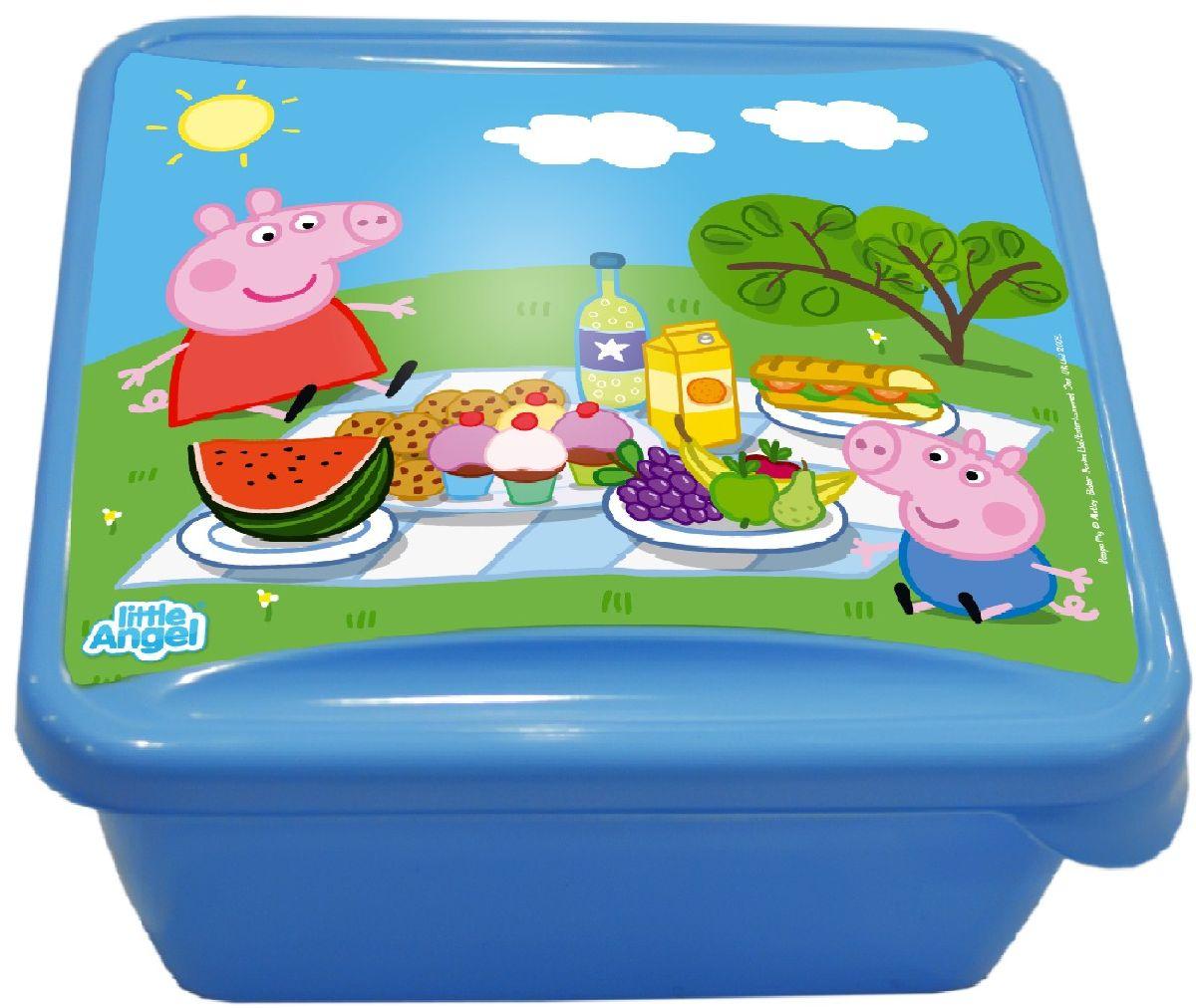 Ланч-бокс Little Angel Mini. Свинка Пеппа, цвет: голубой, 0,45 лLA1055ГЛНаш универсальный ланч-бокс можно использовать как для хранения пищи в холодильнике, так и для того, чтобы брать с собой перекус на работу, в школу, на прогулку. Плотная защелка предотвратит ланч-бокс от открывания.