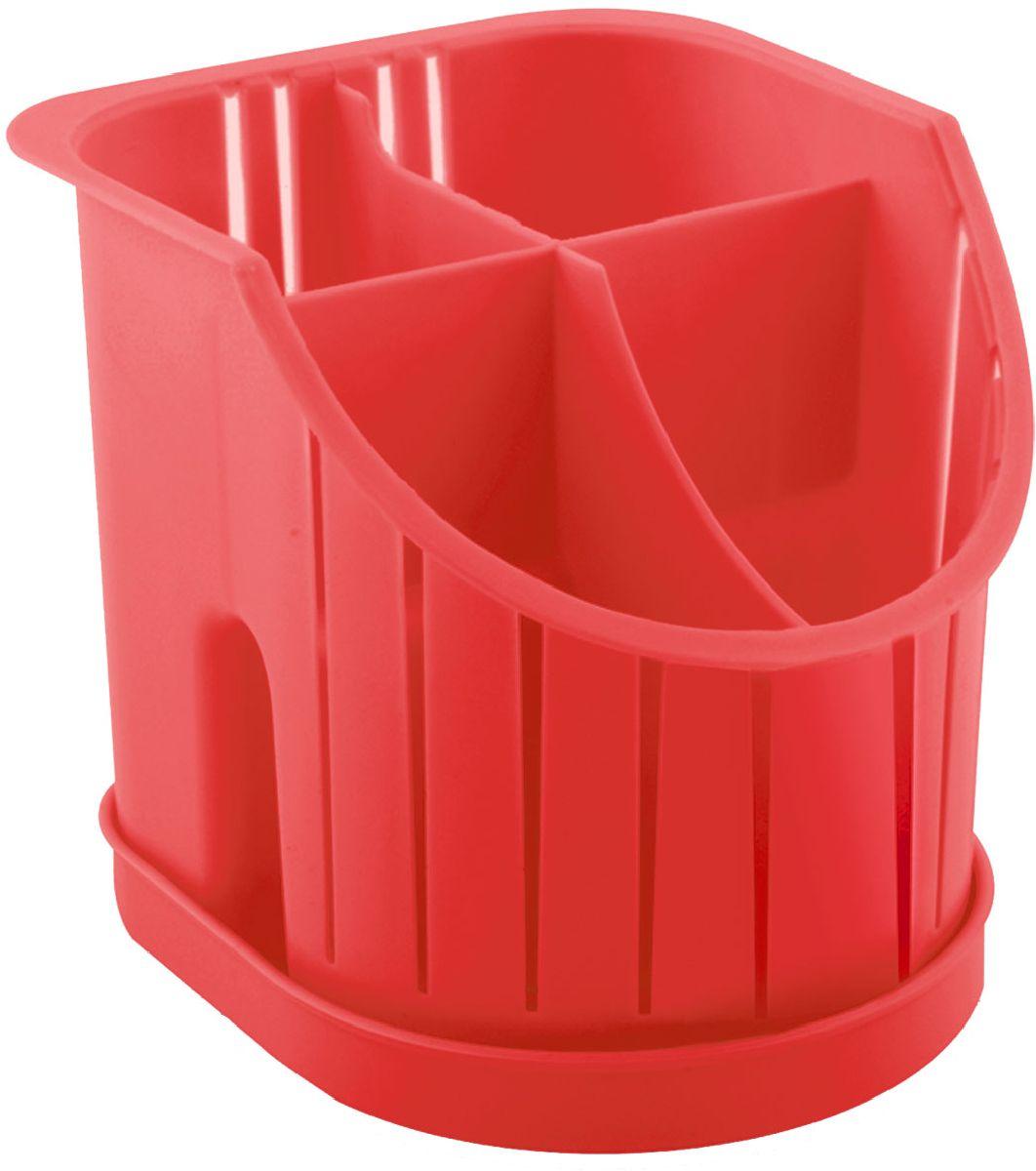 Сушилка для столовых приборов Plastic Centre, 4-секционная, цвет: красный, 16 х 14,2 х 12,8 смПЦ1550КРСушилка для столовых приборов пригодится на любой кухне. Четыре секции позволят сушить или хранить столовые приборы по отдельности (ножи, вилки, ложки и т.п.). Сушилка снабжена поддоном.