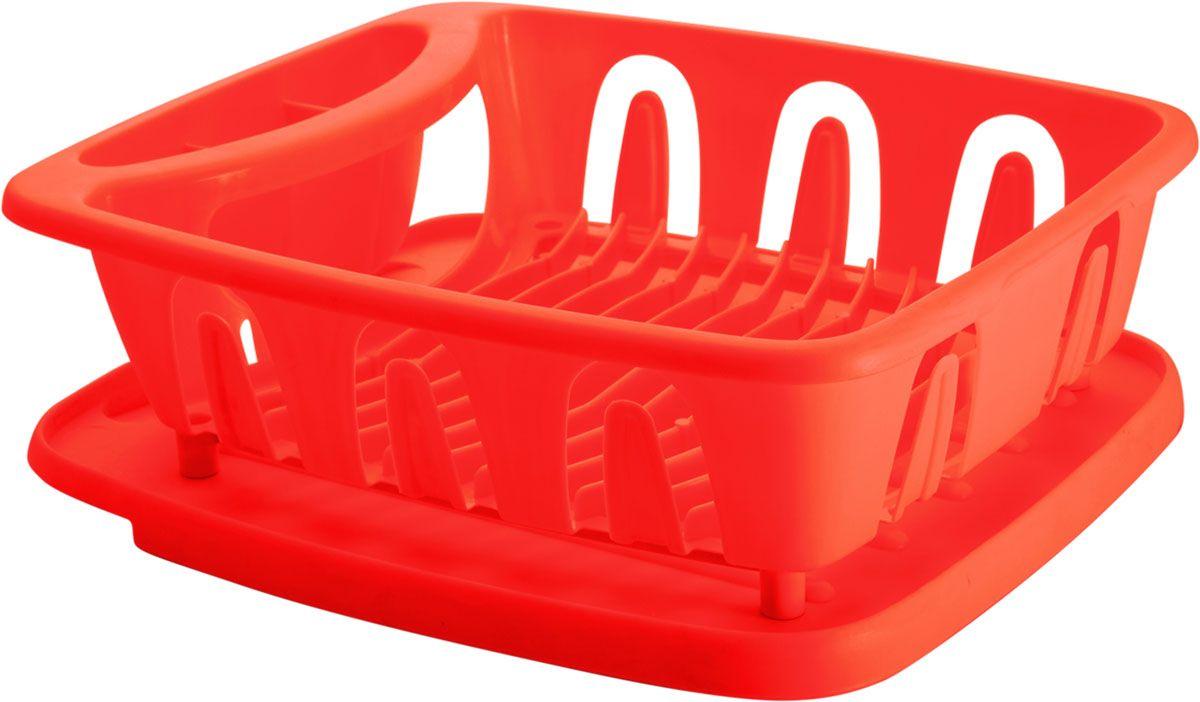 Сушилка для посуды Plastic Centre Люкс, с поддоном, цвет: красный, 36 х 31 х 12,5 смПЦ1556КРСушилка для посуды снабжена 2 секциями: для тарелок и столовых приборов. В комплект входит поддон для стока воды с посуды.