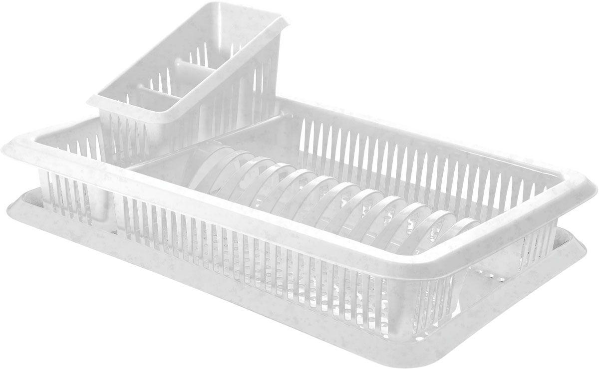 Сушилка для посуды Plastic Centre Лилия, с поддоном, с сушилкой для столовых приборов, цвет: мраморный, 48 х 30,5 х 17 смПЦ1562МРСушилка для посуды снабжена 2 секциями: для тарелок и столовых приборов. В комплект входит поддон для стока воды с посуды.