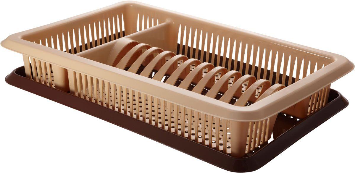 """Сушилка для посуды Plastic Centre """"Лилия"""", с поддоном, цвет: бежевый, коричневый, 48 х 30,5 х 8,5 см"""