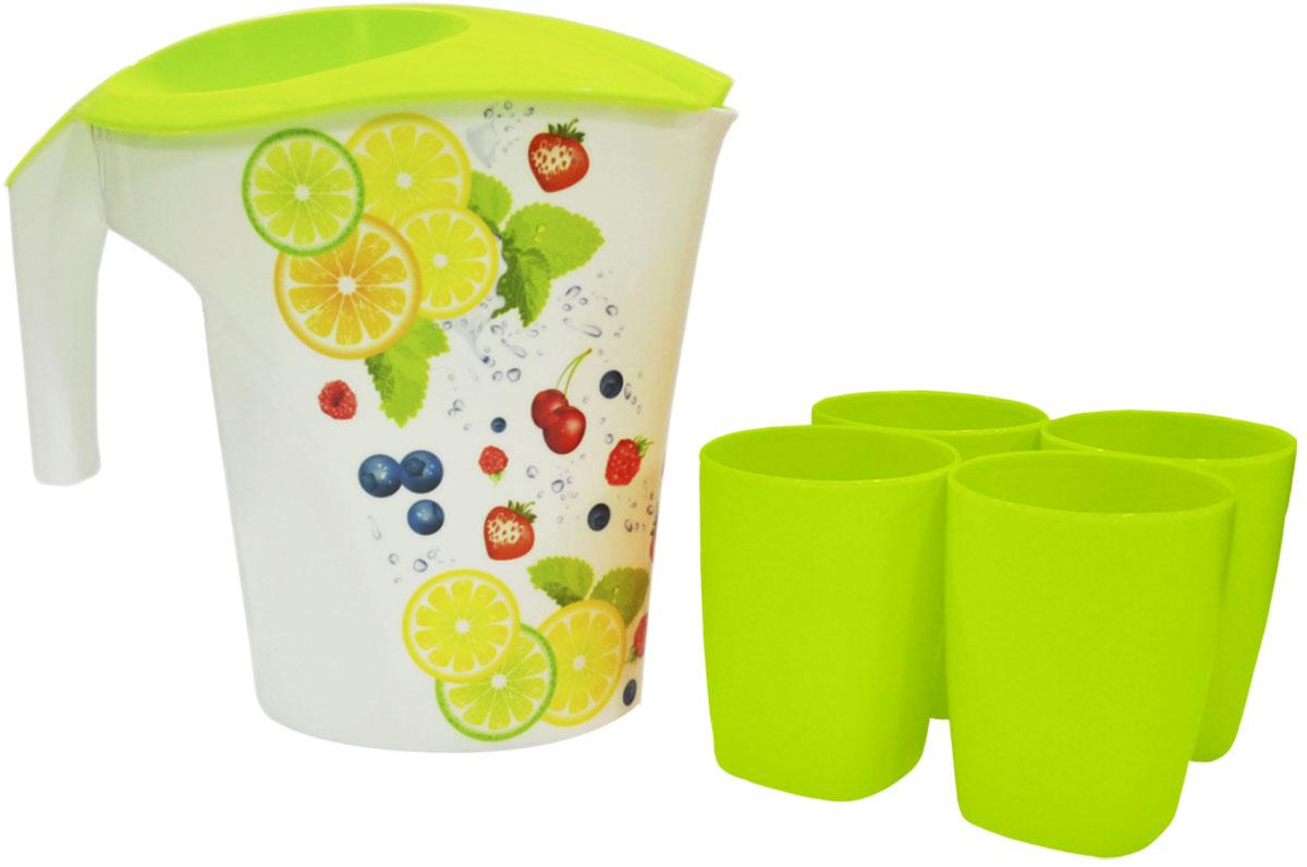 Набор питьевой Plastic Centre Фрукты, цвет: желтый, светло-зеленый, 5 предметовПЦ1906ФРТНабор, состоящий из кувшина для воды и 4 стаканов, можно использовать как дома, так и на природе. В кувшине прекрасно подавать на стол прохладительные напитки, воду и соки. Упакован в термоусадку + яркая этикетка.