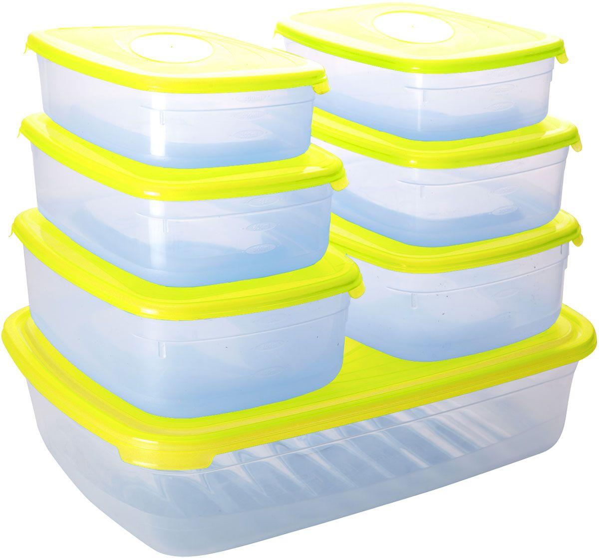 Набор контейнеров для СВЧ Plastic Centre Galaxy, с крышками, 7 штПЦ2225ЛМННабор Plastic Centre Galaxy состоит из семи прямоугольных контейнеров для СВЧ, изготовленных из высококачественного полипропилена, который выдерживает температуру от -40°С до + 110°С. Стенки емкостей прозрачные. Контейнеры оснащены цветными крышками, которые плотно закрываются, поэтому продукты остаются дольше свежими и вкусными. Емкости удобно брать с собой на работу, учебу, пикник или просто использовать для хранения пищи в холодильнике. Можно использовать в микроволновой печи. Можно мыть в посудомоечной машине. Размер контейнера на 0,75 л (без учета крышки): 18,5 х 12 х 4,5 см. Размер контейнера на 1,2 л (без учета крышки): 20,5 х 13 х 5,5 см. Размер контейнера на 1,6 л (без учета крышки): 22 х 15 х 7 см. Размер контейнера на 4,75 л (без учета крышки): 33 х 24,5 х 8,5 см.