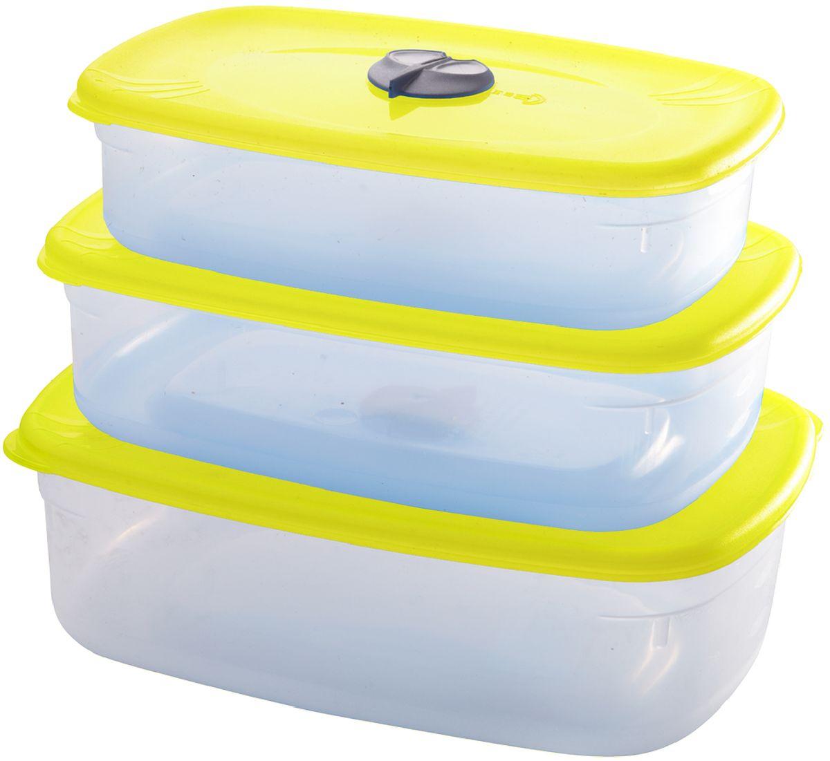 Комплект емкостей для СВЧ Plastic Centre, с паровыпускным клапаном, цвет: желтый, прозрачный, 3 предметаПЦ3504ЛМННабор многофункциональных емкостей для хранения различных продуктов, разогрева пищи, замораживания ягод и овощей в морозильной камере и т.п. При хранении продуктов емкости можно ставить одну на другую, сохраняя полезную площадь холодильника или морозильной камеры. Широкий ассортимент цветов удовлетворит любой вкус и потребности.