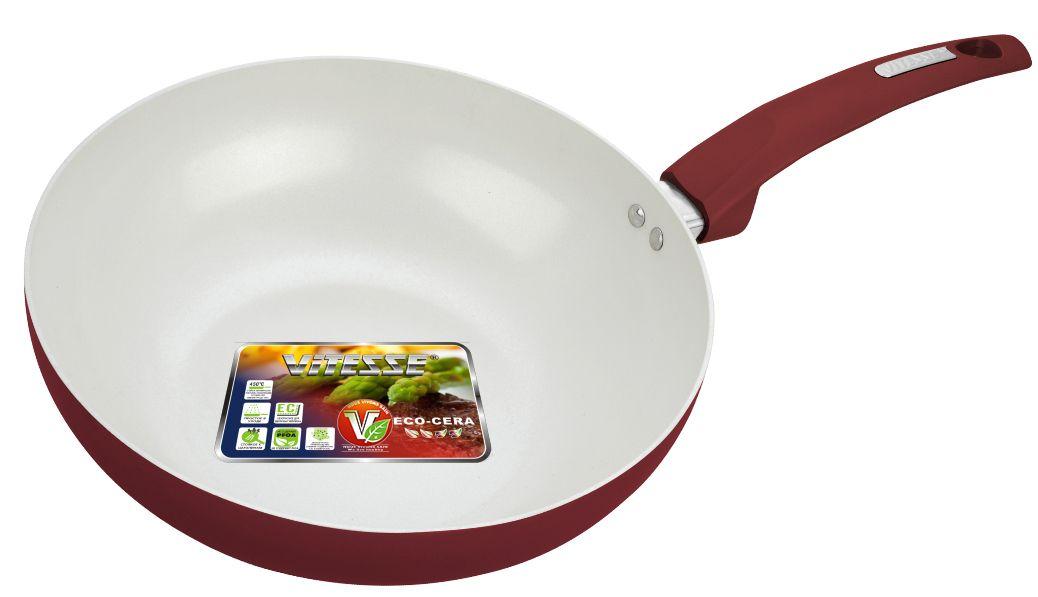 Сковорода-Вок Vitesse Athena, цвет: бордовый. Диаметр 28 см. VS-2235VS-2235Сковорода-Вок Vitesse Athena. Диаметр 28 см, 3 л Алюминий (2,5 мм), Внешнее цветное термостойкое покрытие Внутреннее керамическое антипригарное покрытие Eco-Cera Бакелитовая ручка - на клепках Для всех типов плит, кроме индукционных Можно мыть в посудомоечной машине Можно использовать металлическую лопатку Тип выкладки - Навеска