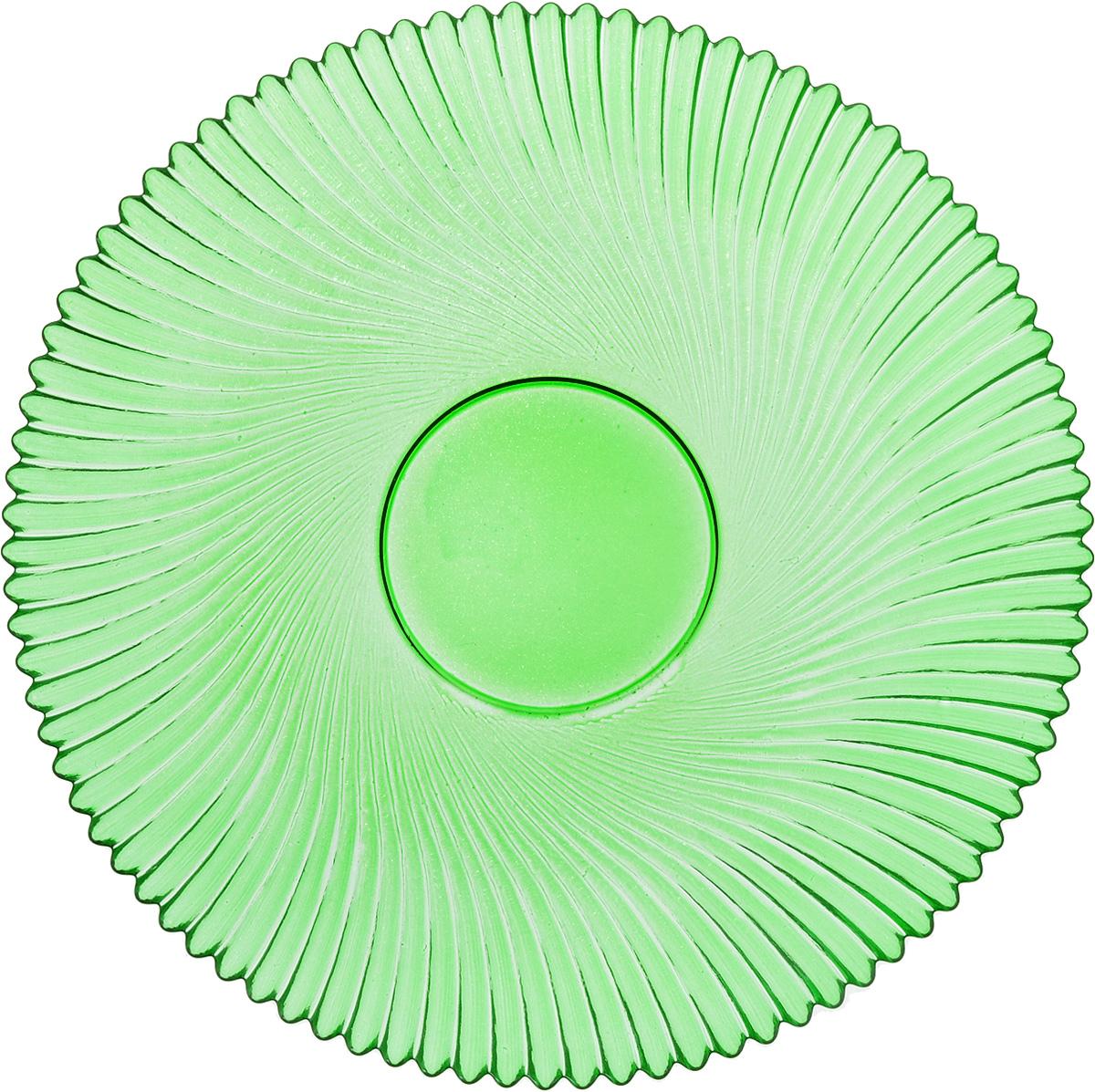 Тарелка NiNaGlass Альтера, цвет: зеленый, диаметр 21 см83-066-ф210 ЗЕЛТарелка NiNaGlass Альтера выполнена из высококачественного стекла и оформлена красивым рельефным узором. Тарелка идеальна для подачи вторых блюд, а также сервировки закусок, нарезок, десертов и многого другого. Она отлично подойдет как для повседневных, так и для торжественных случаев. Такая тарелка прекрасно впишется в интерьер вашей кухни и станет достойным дополнением к кухонному инвентарю.