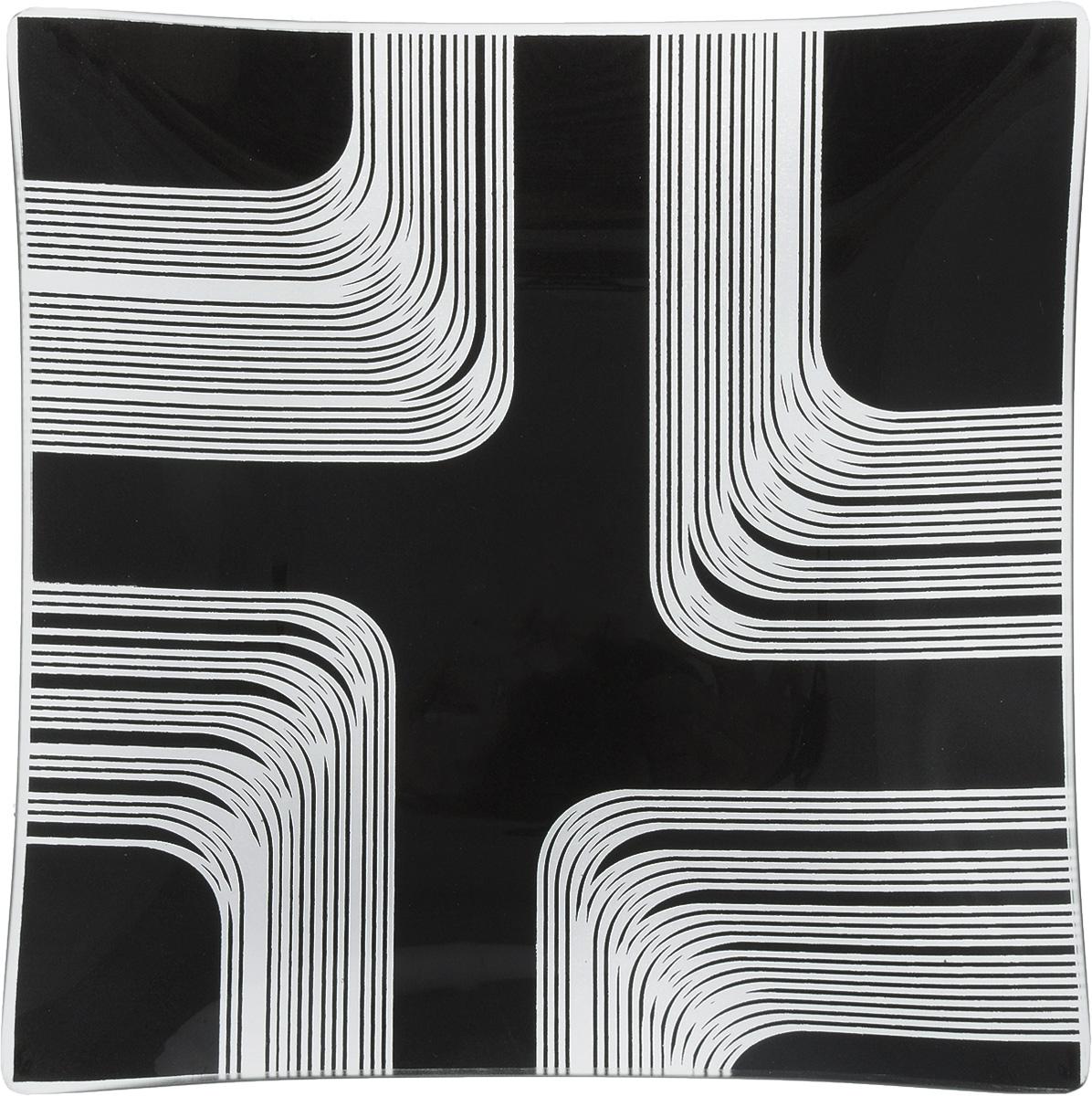 Тарелка NiNaGlass Сонет, цвет: черный, 20 х 20 х 2 см85-200*200-008/черн