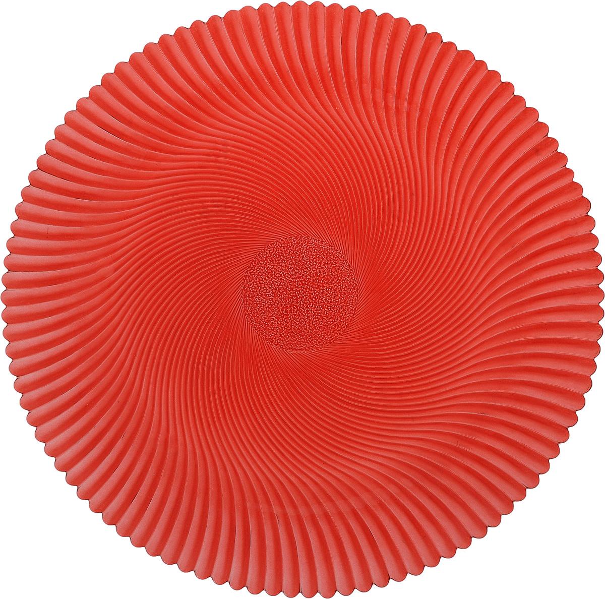 Блюдо NiNaGlass Альтера, цвет: рубиновый, диаметр 32 см83-028-Ф320 РУБКруглое блюдо NiNaGlass Альтера, изготовленное из высококачественного стекла, прекрасно подойдет для подачи нарезок, закусок и других блюд. Внешняя поверхность изделия оформлена рельефом. Такое блюдо украсит сервировку вашего стола и подчеркнет прекрасный вкус хозяйки. Диаметр блюда (по верхнему краю): 32 см. Высота блюда: 2 см.