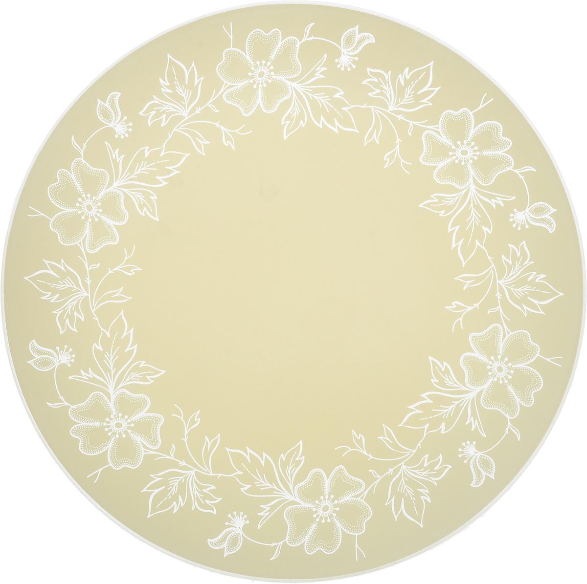 Тарелка NiNaGlass Лара, цвет: светло-бежевый, диаметр 30 см85-300-075/белТарелка NiNaGlass Лара выполнена из высококачественного стекла и оформлена красивым цветочным узором. Тарелка идеальна для сервировки закусок, нарезок, овощей и фруктов. Она отлично подойдет как для повседневных, так и для торжественных случаев. Такая тарелка прекрасно впишется в интерьер вашей кухни и станет достойным дополнением к кухонному инвентарю.