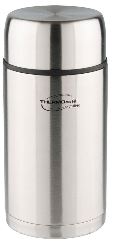 Термос Thermocafe By Thermos, цвет: стальной, 1,2 л. TC-120270757Термос для напитков и еды с широким горлом. На пробке предусмотрен клапан-кнопка для более легкого открытия крышки. Ни для кого не секрет, если подпустить воздух под закручивающуюся крышку, то банка легко откроется. Здесь использован тот же принцип.