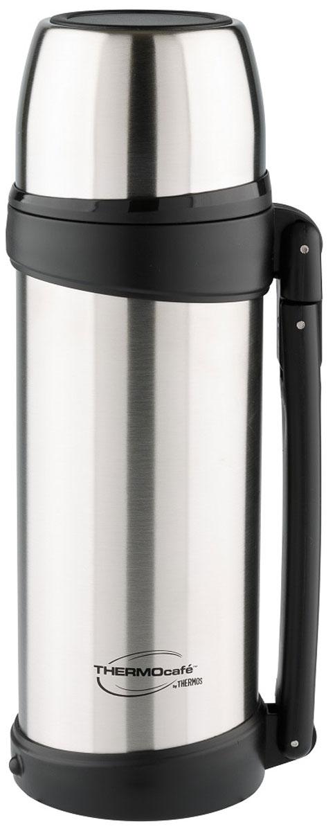 Термос Thermocafe By Thermos, цвет: стальной, 1,8 л. XTGH9-100271242Термос из нержавеющей стали Выливать напитки из термоса можно повернув крышку на пол-оборота. Увеличенная по объему крышка-чашка понравится любителям больших порций. Для удобства использования и транспортировки термос имеет складную ручку