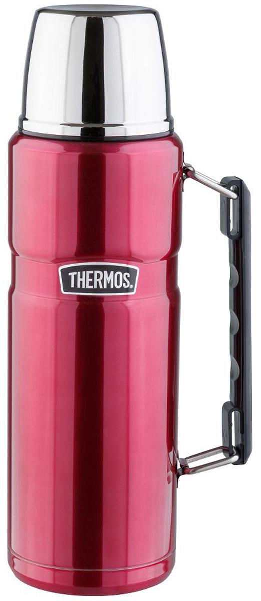 Термос Thermos, цвет: малиновый, 1,2 л. SK 2010890849Стиль, заданный самим названием серии «King», подчеркивается благородством цветовых решений, используемых в этой модельной линии. Модель интересна складной ручкой, созданной для удобного размещения в багаже и полноразмерной чашкой из нержавеющей стали. Термос оснащен герметичной поворотной пробкой, позволяющий выливать жидкость, не отвинчивая пробку полностью.