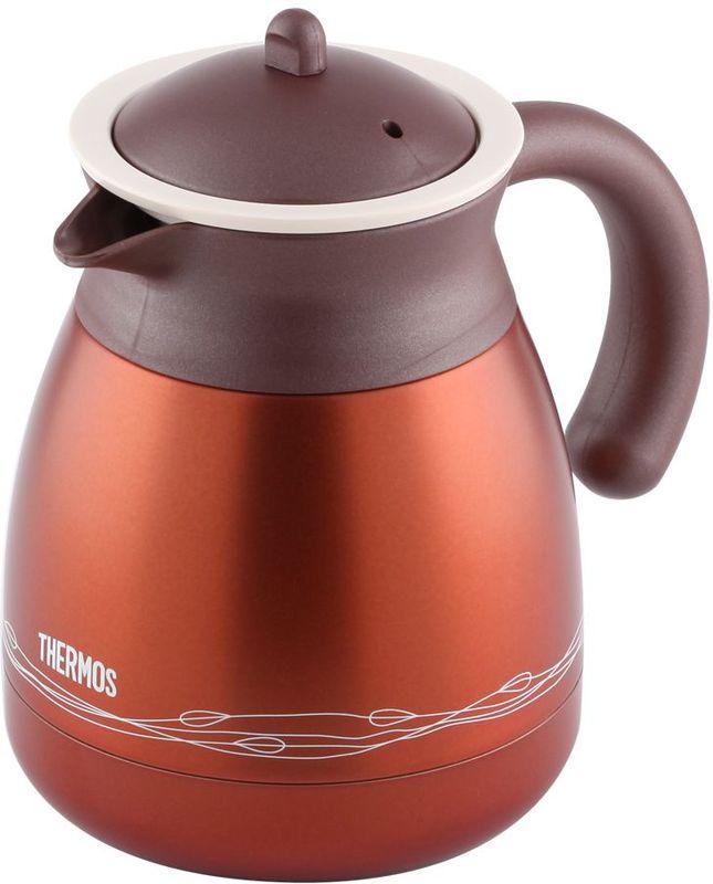 Термос-кувшин Thermos, цвет: коричневый, 0,6 л. TGR-601432964Термос из нержавеющей стали со стальной колбой для заварки чая или кофе. Удивительные свойства чая, травяных настоев или молотого кофе проявляются в наилучшем качестве, если заваривать их в термосе. По сравнению с керамическим или стеклянным чайником для заварки эта модель намного дольше сохраняет тепло. Теперь можно не тратить время на варку кофе в турке. Ставьте термос для заварки прямо на стол без подставки под горячее, - его дно всегда холодное.