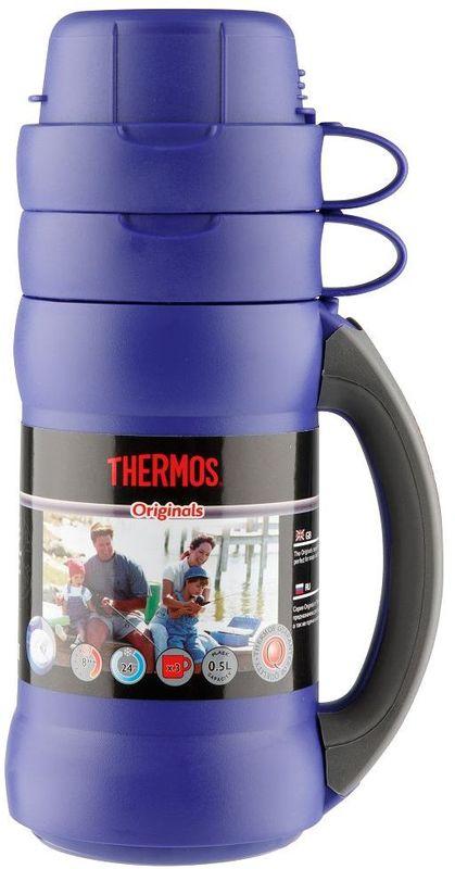 Термос Thermos, цвет: синий, 0,5 л. 273C923707Повышенная прочность стеклянной колбы. Визуальная защита от подделки - колба розового цвета. Полностью герметичен. Благодаря боковым стопперам, термос устойчив в горизонтальном положении.