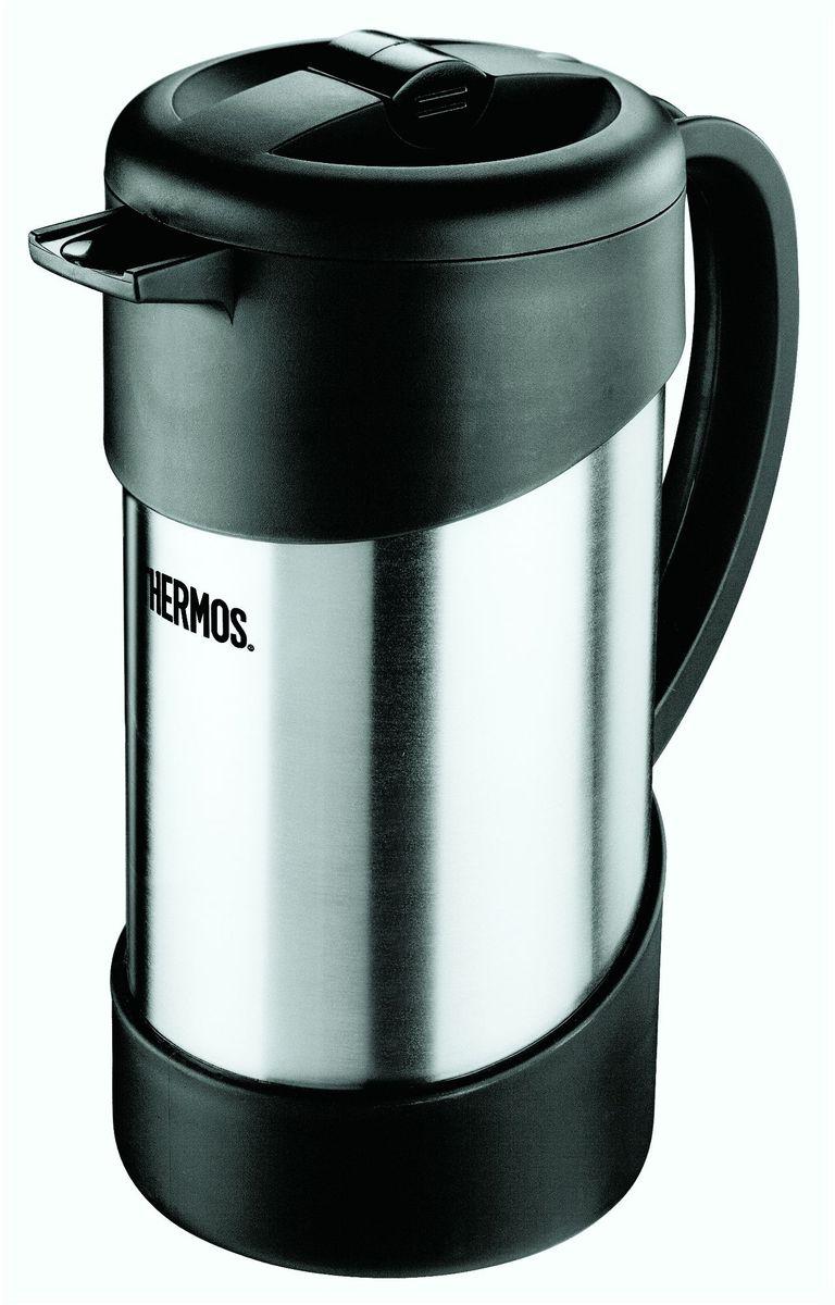 Термос-кофепресс Thermos, цвет: стальной, 1 л. NCI 1000836564Термос кофе-пресс из нержавеющей стали со стальной колбой для заваривания молотого кофе. Также эта модель хороша для заваривания чая и травяных настоев. Принцип действия основан на поршневой системе отжима, как у стеклянных кофе- пресс, но при этом вы можете наслаждаться вкусом и ароматом свежеприготовленного напитка 6 часов. Термос сохраняет напитки горячими в три раза дольше по сравнению с обычным кофе-прессом со стеклянной колбой. Легкость в использовании: засыпать в кофе-пресс молотый кофе, залить кипящую воду, накрыть крышкой с ситечком, через 3-5 минут опустить поршень вниз.