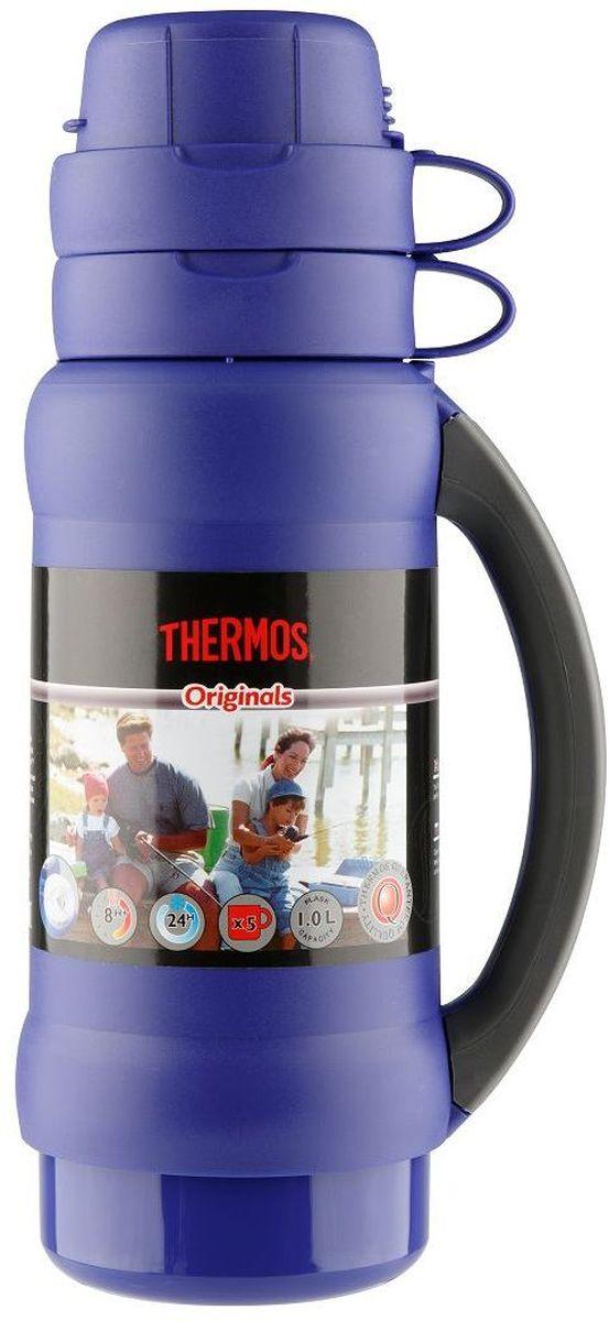Термос Thermos, цвет: синий, 1 л. 273C923714Повышенная прочность стеклянной колбы. Визуальная защита от подделки - колба розового цвета. Полностью герметичен. Благодаря боковым стопперам, термос устойчив в горизонтальном положении.