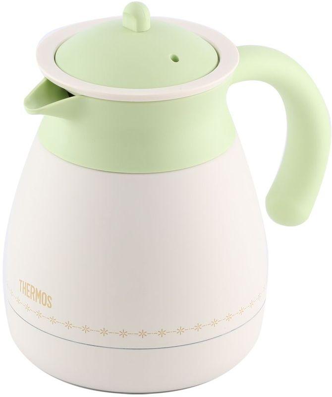 Термос-кувшин Thermos, цвет: бело-зеленый, 0,6 л. TGR-601433190Термос из нержавеющей стали со стальной колбой для заварки чая или кофе. Удивительные свойства чая, травяных настоев или молотого кофе проявляются в наилучшем качестве, если заваривать их в термосе. По сравнению с керамическим или стеклянным чайником для заварки эта модель намного дольше сохраняет тепло. Теперь можно не тратить время на варку кофе в турке. Ставьте термос для заварки прямо на стол без подставки под горячее, - его дно всегда холодное.