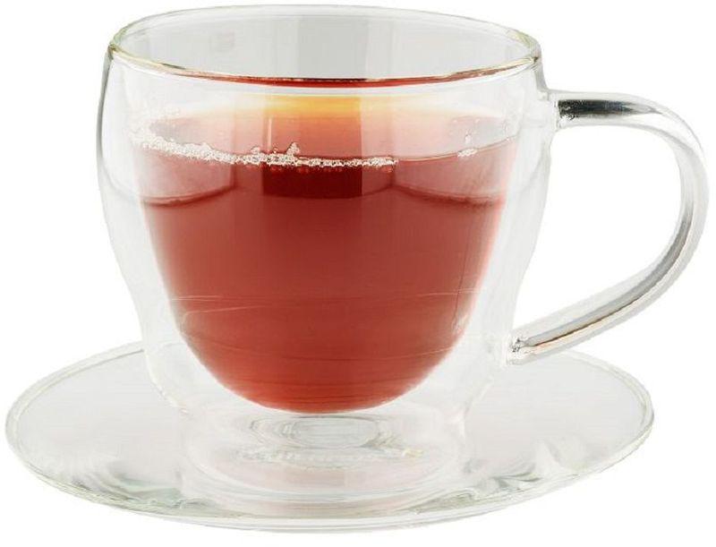 Кружка Thermos Double Glass Cups, с блюдцем, цвет: прозрачный, 0,3 л900722Стильный набор из двух чашек с блюдцами. Чашки изготовлены из двойного термостекла. Благодаря современным технологиям внешнее стекло остается холодным.