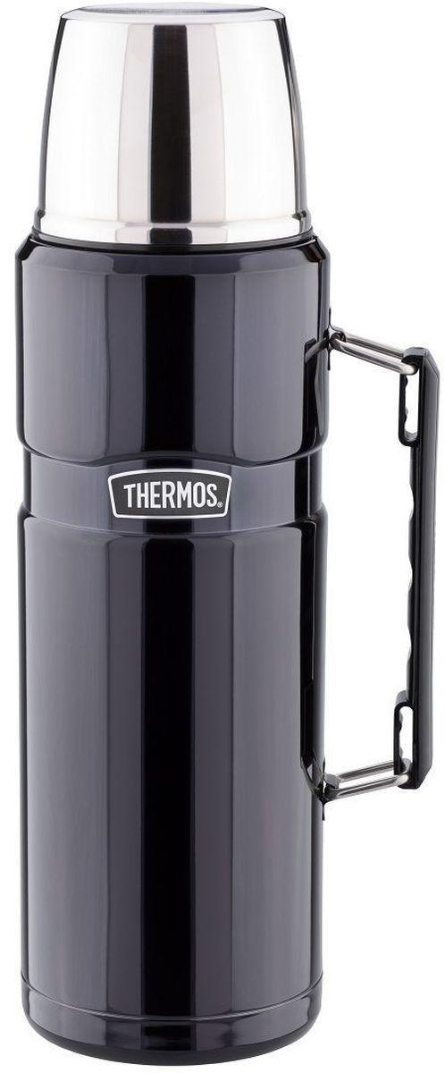 Термос Thermos, цвет: черный матовый, 1,2 л. SK 2010712608Стиль, заданный самим названием серии King, подчеркивается благородством цветовых решений, используемых в этой модельной линии. Модель интересна складной ручкой, созданной для удобного размещения в багаже и полноразмерной чашкой из нержавеющей стали. Термос оснащен герметичной поворотной пробкой, позволяющий выливать жидкость, не отвинчивая пробку полностью.