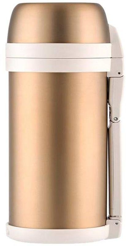 Термос Thermos, цвет: золотой матовый, 1,4 л. FDH-1405429049Термос из нержавеющей стали FDH предназначен для длительного сохранения температуры горячего и холодного . Такие показатели достигаются благодаря технологии производства глубокого вакуума. Этот термос легок и компактен. Используется технология уменьшения веса изделия при увеличении объема внутренний колбы. Термос с комбинированным горлом предназначен для еды и напитков. Удобная в использовании стильная пробка из высококачественного пластика с откидной крышкой. Термос укомплектован дополнительной пластиковой чашкой. Складная ручка и ремень для переноски.