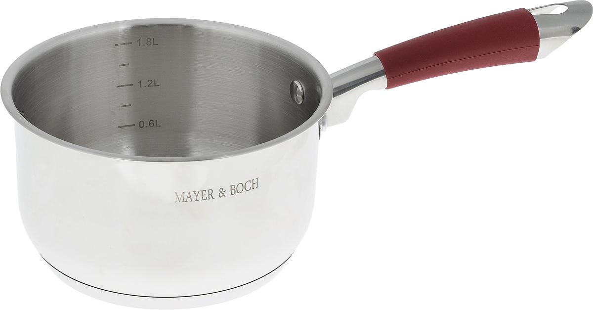 Ковш Mayer & Boch, 2,5 л. 2139821398Ковш Mayer & Boch изготовлен из высококачественной нержавеющей стали с 3-слойным термоаккумулирующим дном. Нержавеющая сталь обладает высокой устойчивостью к коррозии, не вступает в реакцию с холодными и горячими продуктами и полностью сохраняет их вкусовые качества. Особая конструкция дна способствует высокой теплопроводности и равномерному распределению тепла. Материал удерживает тепло по всей поверхности изделия, благодаря чему пища равномерно и быстро нагревается. Посуда идеальна для приготовления здоровой пищи с минимальным количеством жира, что обеспечивает снижение потери полезных витаминов, минеральных веществ и сохраняет аромат приготовленных блюд. Практичный ободок ковша препятствует проливанию жидкости. Ручка оснащена силиконовой насадкой, благодаря чему не перегревается во время приготовления пищи. Внутренние стенки имеют отметки литража. Посуда очень удобна в использовании, практична и элегантна. Подходит для мытья в...
