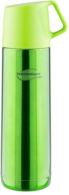 Термос Thermocafe By Thermos, цвет: зеленый, 0,5 л. JF-50271501Термос из нержавеющей стали в яркой расцветке. В пробке использован новый механизм открытия/закрытия. Удобная пластиковая крышка-чашка с ручкой.