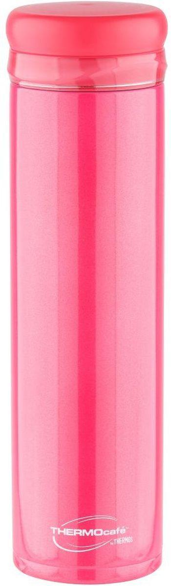 Термос Thermocafe By Thermos, цвет: красный, 0,5 л. XSL-50270122Предназначен для использования в движении. Модель привлекает тонким изящным стилем. Покрытие, созданное на основе самых современных технологий, прекрасно передает глубину и палитру цвета. Можно пить прямо из термоса. Горло у термоса предусмотрено для загрузки кубиков льда. Конструкция крышки не позволяет льду выпадать при питье. Термос удобно лежит в руке. Модель легко моется. Можно мыть в посудомоечной машине. Может использоваться в стандартном подстаканнике автомобиля.