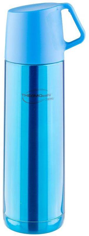 Термос Thermocafe By Thermos, цвет: голубой, 0,5 л. JF-50271457Термос из нержавеющей стали в яркой расцветке. В пробке использован новый механизм открытия/закрытия. Удобная пластиковая крышка-чашка с ручкой.