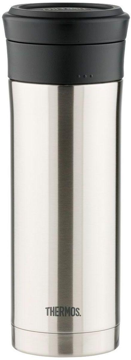 Термос Thermos, цвет: темно-синий, 0,5 л. JNO-500933409Термос с узким дном. Предназначен для использования в движении. Модель привлекает тонким изящным стилем. Покрытие, созданное на основе самых современных технологий, прекрасно передает глубину и палитру цвета. Можно пить прямо из термоса. Широкое горло предусмотрено для загрузки кубиков льда. Конструкция крышки не позволяет льду выпадать при питье. Термос удобно лежит в руке. Модель легко моется. Можно мыть в посудомоечной машине. Может использоваться в стандартном подстаканнике автомобиля.