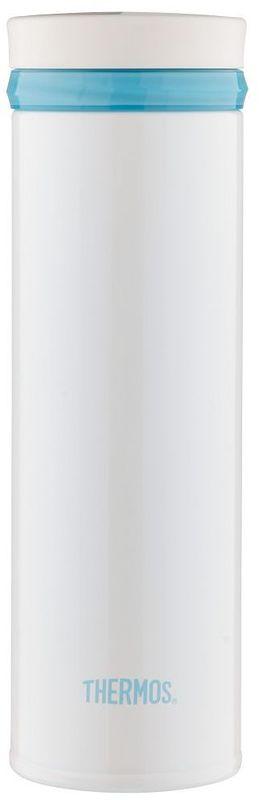 Термос Thermos, цвет: белый, 0,5 л. JNO-500934215Термос с узким дном. Предназначен для использования в движении. Модель привлекает тонким изящным стилем. Покрытие, созданное на основе самых современных технологий, прекрасно передает глубину и палитру цвета. Можно пить прямо из термоса. Широкое горло предусмотрено для загрузки кубиков льда. Конструкция крышки не позволяет льду выпадать при питье. Термос удобно лежит в руке. Модель легко моется. Можно мыть в посудомоечной машине. Может использоваться в стандартном подстаканнике автомобиля.