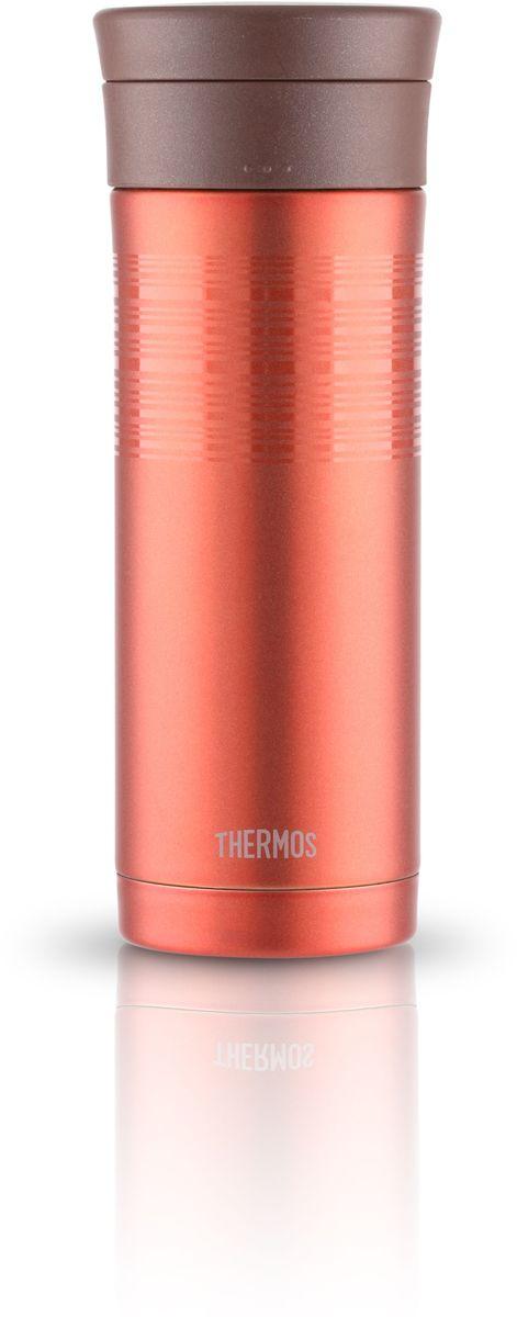 Термос Thermos, цвет: светло-коричневый, 0,48 л. JMK-501417251Термос из нержавеющей стали. Предназначен для использования в движении. Модель привлекает тонким изящным стилем. Покрытие, созданное на основе самых современных технологий, прекрасно передает глубину и палитру цвета. Можно пить прямо из термоса. Широкое горло предусмотрено для загрузки кубиков льда. Конструкция крышки не позволяет льду выпадать при питье. Термос удобно лежит в руке. Модель легко моется. Можно мыть в посудомоечной машине. Может использоваться в стандартном подстаканнике автомобиля.