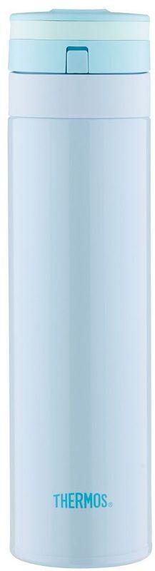 Термос Thermos, цвет: голубой, 0,45 л. JNS-450935755Суперлегкий и супертонкий термос. При объеме 400 ml, весит всего 190г.Фиксатор от случайного открытия, крышка откидывается полностью и фиксируется. Подходит для автомобильных держателей.