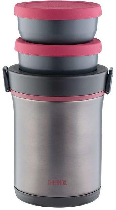 Термос Thermos, цвет: темно-серый, 1,6 л. JBE-1600F909367В набор входят термос из нержавеющей стали и высококачественные пластиковые контейнеры для четырех блюд. Контейнер для первого блюда герметичен. Набор укомплектован ложкой из нержавеющей стали в пластиковом чехле и нейлоновой сумкой, в которой его удобно транспортировать на плече.