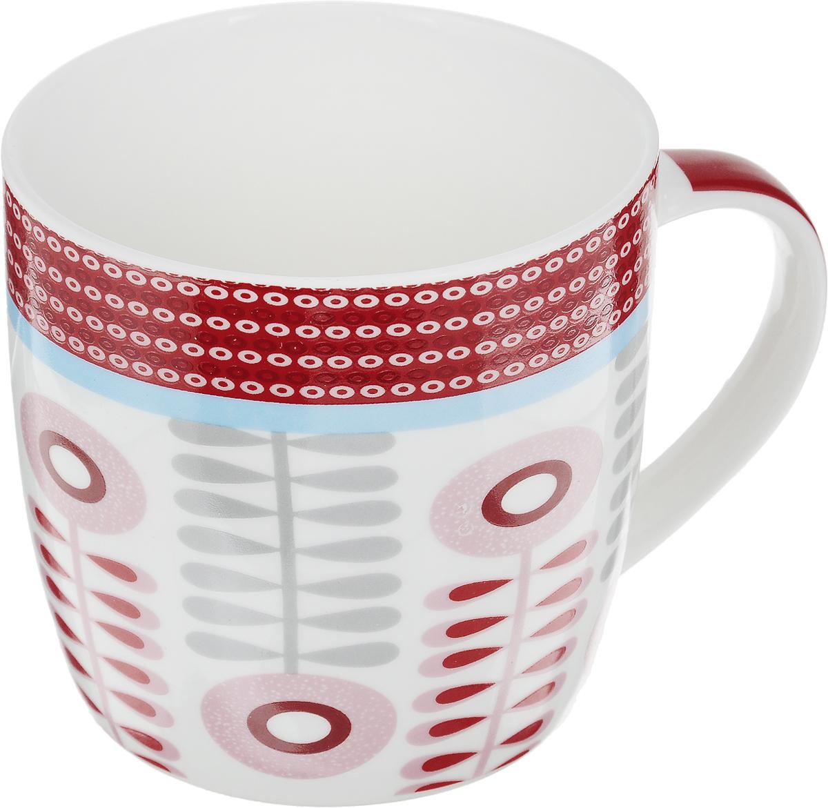 Кружка Loraine, цвет: белый, розовый, красный, 320 мл24479Кружка Loraine изготовлена из прочного качественного костяного фарфора. Изделие оформлено красочным абстрактным рисунком. Благодаря своим термостатическим свойствам, изделие отлично сохраняет температуру содержимого - морозной зимой кружка будет согревать вас горячим чаем, а знойным летом, напротив, радовать прохладными напитками. Такой аксессуар создаст атмосферу тепла и уюта, настроит на позитивный лад и подарит хорошее настроение с самого утра. Это оригинальное изделие идеально подойдет в подарок близкому человеку. Диаметр (по верхнему краю): 8,5 см. Высота кружки: 8 см.