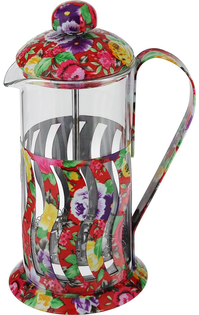 Френч-пресс Mayer & Boch, 350 мл. 2002820028Френч-пресс Mayer & Boch - это отличный заварочный чайник для ежедневного использования, который позволит быстро приготовить ароматный чай или кофе. Емкость чайника выполнена из жаропрочного стекла и снабжена подставкой из нержавеющей стали с цветочным узором. Чайник с плотной крышкой и удобной ручкой имеет специальный пресс-фильтр для отделения чайных листьев от воды. После заваривания чая фильтр не надо вынимать, просто медленно опускайте его вниз - вся заварка уйдет вниз, а вверху останется очищенный от заварки напиток, готовый к употреблению. Конструкция носика антикапля удобна для разливания напитков в чашки. Заваривание чая в чайнике Mayer & Boch - это приятное и легкое занятие. Заварочный чайник займет достойное место на вашей кухне. Современный дизайн полностью соответствует последним модным тенденциям в создании кухонной утвари. Можно мыть в посудомоечной машине. Диаметр основания: 9 см. Диаметр колбы: 7...