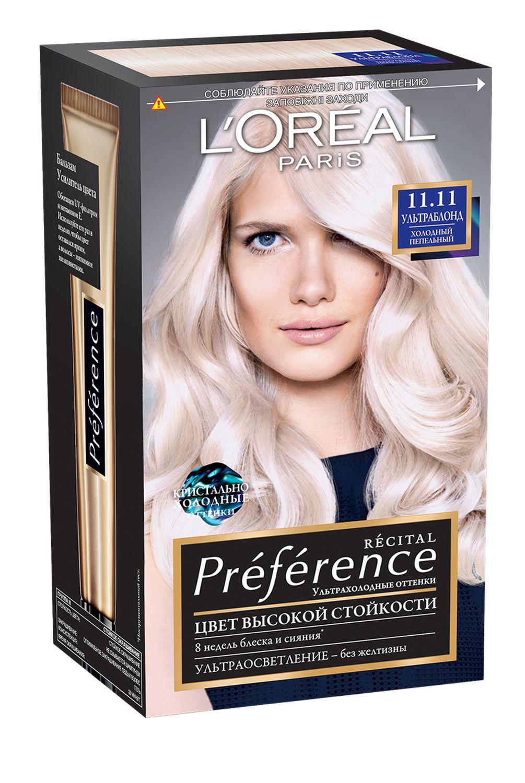 LOreal Paris Стойкая краска для волос Preference, 11.11, Пепельный УльтраблондA8437700Легендарная краска Preference от LOreal Paris - премиальное качество окрашивания! В ее разработке приняли участие эксперты из лабораторий LOreal Paris и профессиональный колорист Кристоф Робин. Более объемные красящие вещества Preference дольше удерживаются в структуре волоса, обеспечивая совершенный стойкий цвет. Уникальная технология против вымывания цвета и комплекс ЭКСТРАБЛЕСК подарят насыщенный цвет и великолепный блеск в течение 8 недель. В состав упаковки входит: флакон гель-краски (40 мл), флакон-аппликатор с проявляющим кремом (80 мл), бальзам Усилитель цвета (54 мл), инструкция, пара перчаток.