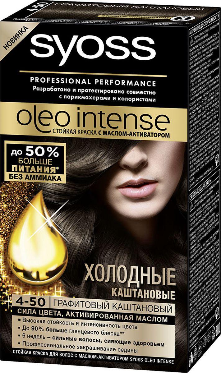 Syoss Oleo Intense Краска для волос 4-50 Графитовый каштановый 115 мл09393500890Откройте для себя первую стойкую краску с маслом-активатором от Syoss, разработанную и протестированную совместно с парикмахерами и колористами. Насыщенная формула крем-масла наносится без подтеков. 100% чистые масла работают как усилитель цвета: технология Oleo Intense использует силу и свойство масел максимизировать действие красителя. Абсолютно без аммиака, для оптимального комфорта кожи головы. Одновременно краска обеспечивает экстра-восстановление волос питательными маслами, делая волосы до 40% более мягкими. Волосы выглядят здоровыми и сильными 6 недель.