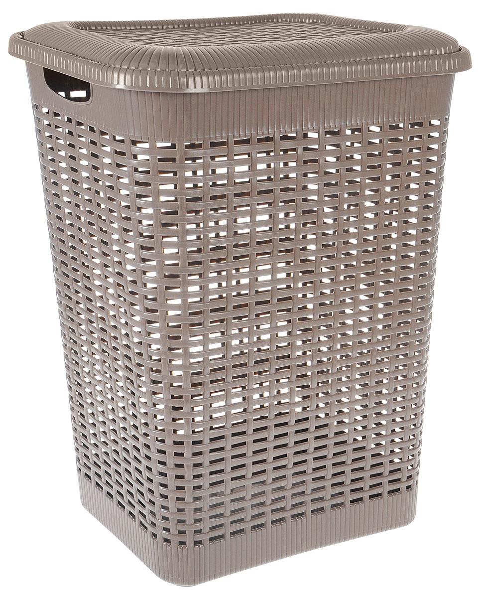 Корзина для белья Econova, цвет: тауп, 50 лС12934_коричневыйКорзина для белья Econova изготовлена из пластика с эффектом плетения. Оснащена двумя ручками для удобной переноски и откидной крышкой. Корзина легкая и надежная, с вентиляционными отверстиями в стенках. Пластиковые корзины - идеальный вариант для влажного помещения, они не подвержены воздействию плесени, деформации, коррозии. Прекрасно подходят для хранения тонких, дорогих вещей, так как не оставляют зацепок и зазубринок, которые могут безнадежно испортить вещь.