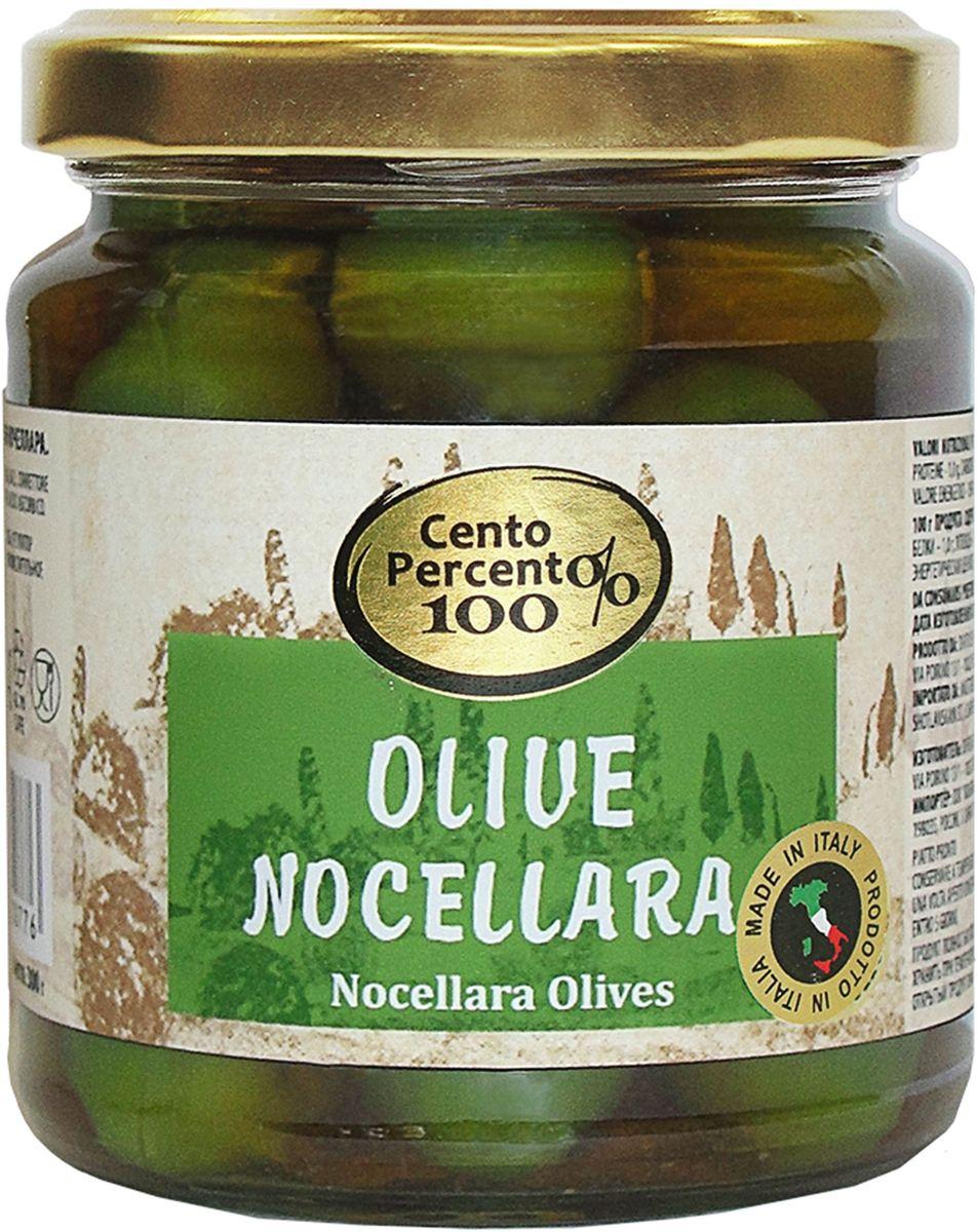 """Оливки Ночеллара """"Cento Percento"""" - это настоящие зеленые сицилийские оливки с косточкой в легком маринаде. Продукт полностью произведен в Италии."""